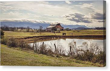 Mountain View Barn Canvas Print by Heather Applegate
