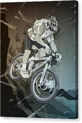 Mountainbike Sports Action Grunge Monochrome Canvas Print by Frank Ramspott