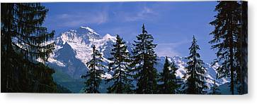 Mountains Covered With Snow, Swiss Canvas Print by Panoramic Images