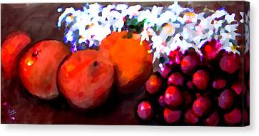 Mouth And Peach Canvas Print by Marcello Cicchini