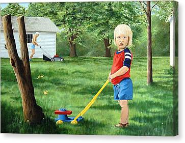 Mowing Canvas Print by AnnaJo Vahle