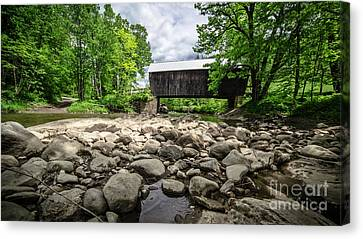 Moxley Covered Bridge Chelsea Vermont Canvas Print by Edward Fielding