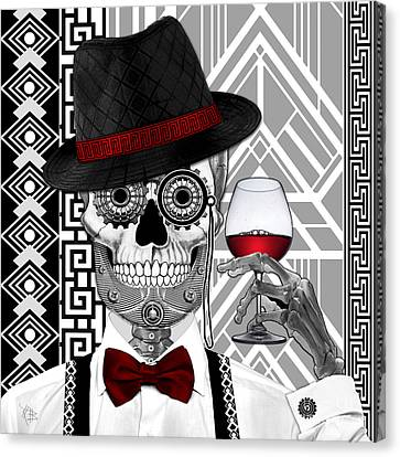 Mr. J.d. Vanderbone - Day Of The Dead 1920's Sugar Skull - Copyrighted Canvas Print by Christopher Beikmann
