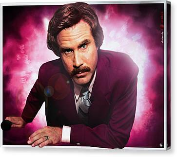 Mr. Ron Mr. Ron Burgundy From Anchorman Canvas Print by Nicholas  Grunas