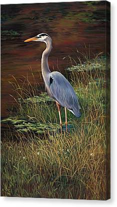 Mrs Blue Heron Canvas Print by Laurie Hein