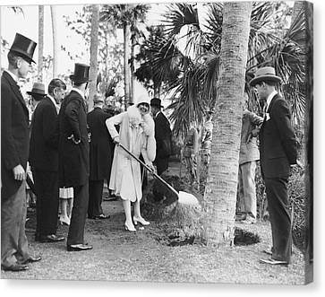 Mrs. Calvin Coolidge Planting Canvas Print by Underwood Archives