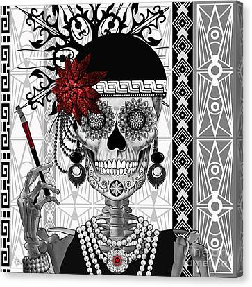 Mrs. Gloria Vanderbone - Day Of The Dead 1920's Flapper Girl Sugar Skull - Copyrighted Canvas Print by Christopher Beikmann