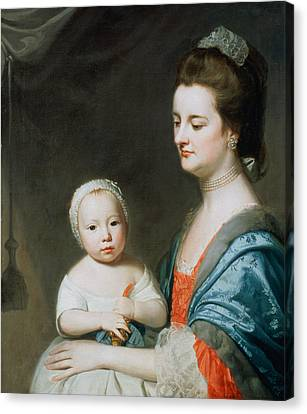 Mrs Marton And Her Son Oliver Canvas Print by George Romney