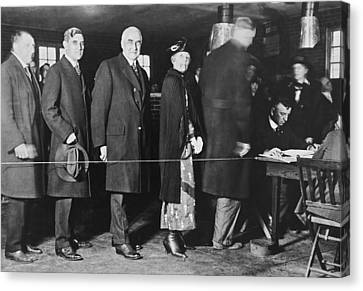 Mrs. Warren Harding Voting Canvas Print by Underwood Archives