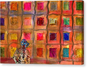 Ms Cool Goes Window Watching In Color Canvas Print by Angela L Walker