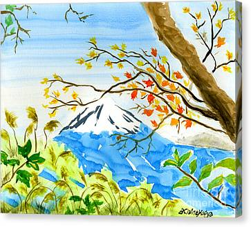 Mt Fuji From Koyodai In Autumn Canvas Print by Beverly Claire Kaiya