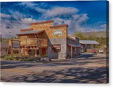Mt Gardner Inn And Fly Shop Canvas Print by Omaste Witkowski