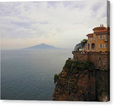 Mt Vesuvius From Sorrento At Dusk Canvas Print by Marilyn Dunlap