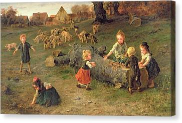 Mud Pies Canvas Print by Ludwig Knaus