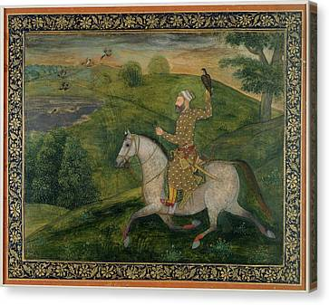 Mughal Nobleman Out Hawking Canvas Print by British Library