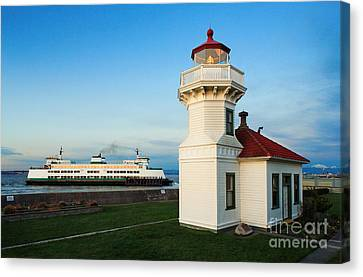 Mukilteo Ferry And Lighthouse Canvas Print by Inge Johnsson