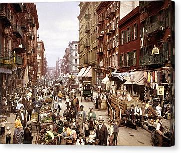 Mulberry Street, New York, Circa 1900 Canvas Print by Science Photo Library