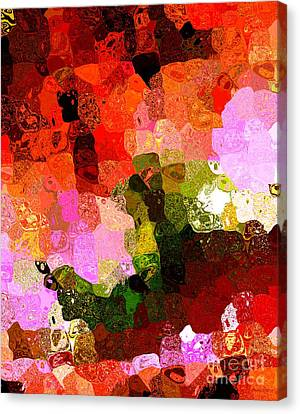 Multi Color Abstract Art Of Spots Canvas Print by Mario Perez