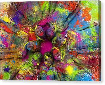 Multicoloured Boys Canvas Print by Tim Gainey