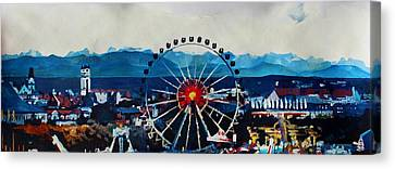 Munich Oktoberfest Panorama With Alps And Giant Wheel Canvas Print by M Bleichner