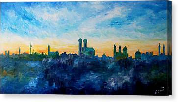 Munich Skyline With Church Of Our Lady Canvas Print by M Bleichner