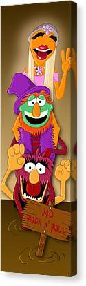 Muppet's Stretching Room Portrait #1 Canvas Print by Lisa Leeman