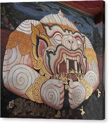 Mural - Grand Palace In Bangkok Thailand - 011311 Canvas Print by DC Photographer