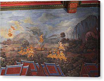 Mural - Grand Palace In Bangkok Thailand - 01137 Canvas Print by DC Photographer