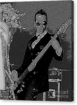 Bass Player Art Bw Canvas Print by Lesa Fine
