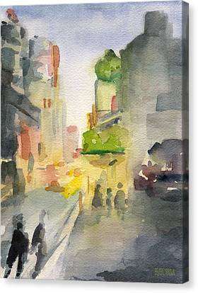 Music Box Theater Times Square Watercolor Painting Of New York Canvas Print by Beverly Brown Prints