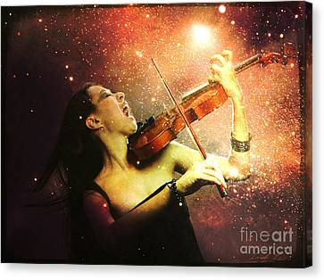 Music Explodes In The Night Canvas Print by Linda Lees