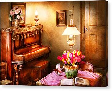 Music - Piano - The Music Room Canvas Print by Mike Savad