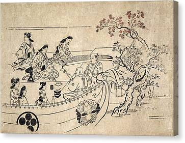 Music Under The Cherry Tree At Ueno Canvas Print by Hishikawa Moronobu