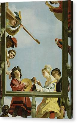 Musical Group On A Balcony Canvas Print by Gerrit van Honthorst