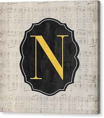 Musical Monogram Canvas Print by Debbie DeWitt