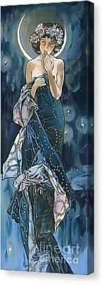 My Acrylic Painting As An Interpretation Of The Famous Artwork Of Alphonse Mucha - Moon - Canvas Print by Elena Yakubovich