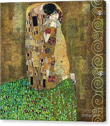 My Acrylic Painting As An Interpretation Of The Famous Artwork Of Gustav Klimt The Kiss - Yakubovich Canvas Print by Elena Yakubovich