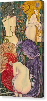 My Acrylic Painting Inspired By Klimt - Goldfish - Beethoven Frieze - Jurisprudence Final State - Canvas Print by Elena Yakubovich