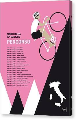 My Giro D Italia Minimal Poster 2014-percoso Canvas Print by Chungkong Art