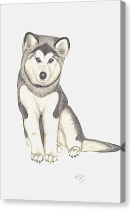 My Husky Puppy-misty Canvas Print by Patricia Hiltz