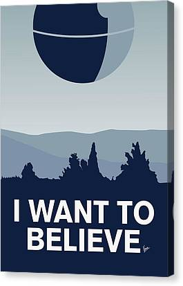 My I Want To Believe Minimal Poster-deathstar Canvas Print by Chungkong Art