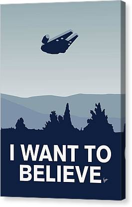 My I Want To Believe Minimal Poster-millennium Falcon Canvas Print by Chungkong Art