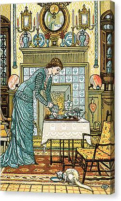 My Lady's Chamber Canvas Print by Walter Crane