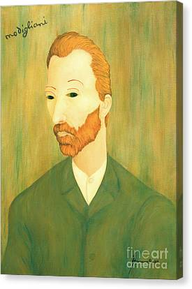 My Modigliani Style Vincent Van Gogh Canvas Print by Jerome Stumphauzer