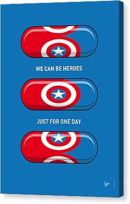 My Superhero Pills - Captain America Canvas Print by Chungkong Art
