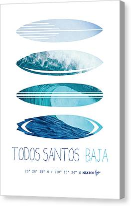 My Surfspots Poster-6-todos-santos-baja Canvas Print by Chungkong Art