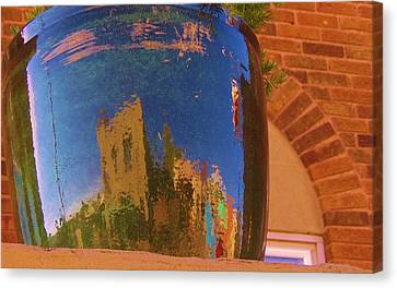 My Town Reflected In A Blue Pot Canvas Print by Feva  Fotos