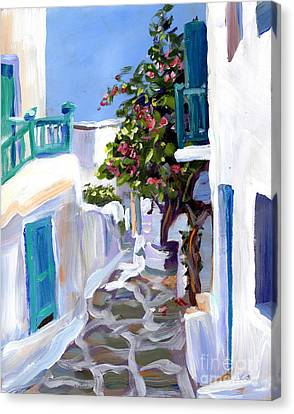 Mykonos Passages Canvas Print by Valerie Freeman