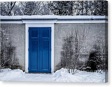 Mysterious Blue Door On Wall Canvas Print by Edward Fielding