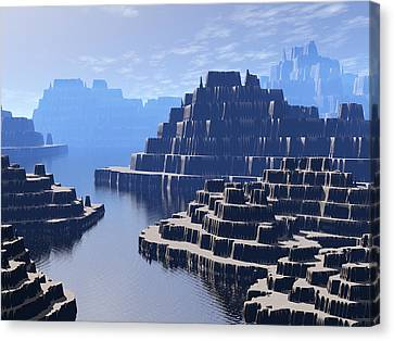 Mysterious Terraced Mountains Canvas Print by Phil Perkins